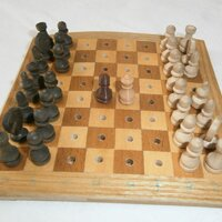 Travel chess, 15mm tall in 0.15mm layer thickness printed in PLA tan and brown
