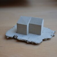 In concrete casted 3D print of a achitecture-model