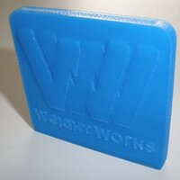 Logo company WeightWorks printed in PLA blue with 0.1mm layer thickness